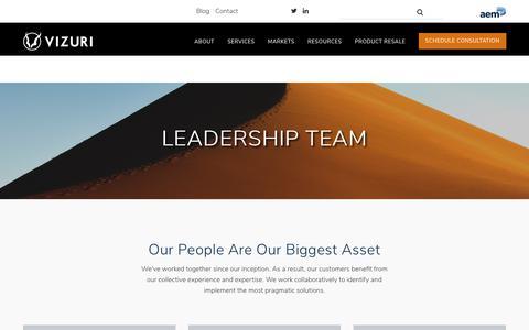 Screenshot of Team Page vizuri.com - Vizuri Leadership Team - captured Sept. 20, 2018