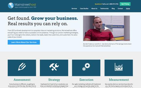 Screenshot of Home Page mainstreethost.com - Affordable SEO & Search Engine Marketing Services | Optimization Company - Mainstreethost - captured Sept. 23, 2014