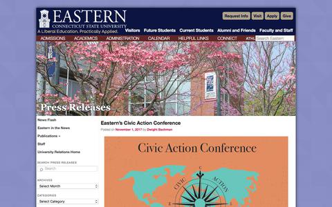 Screenshot of Press Page easternct.edu - Press Releases   Eastern Connecticut State University - captured Nov. 3, 2017
