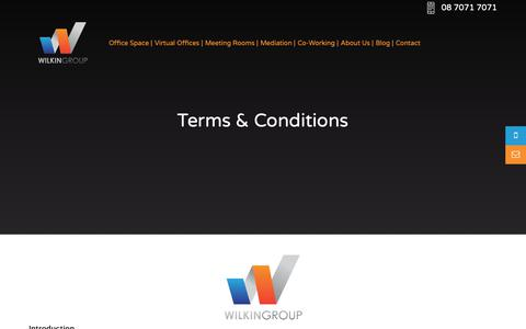 Screenshot of Terms Page wilkingroup.com.au - Terms & Conditions - Office Space, Virtual Offices, Meeting Rooms and Mediation Rooms in Adelaide - captured Oct. 20, 2018