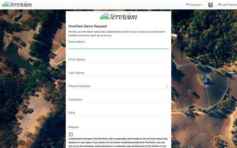 Screenshot of Signup Page terravion.com - Signup - TerrAvion - captured Oct. 19, 2018