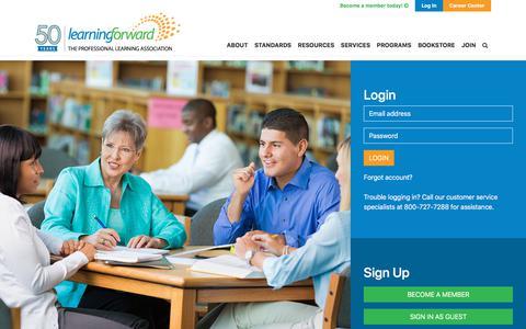 Screenshot of Login Page learningforward.org - Login (test) - Learning Forward - captured Oct. 4, 2019