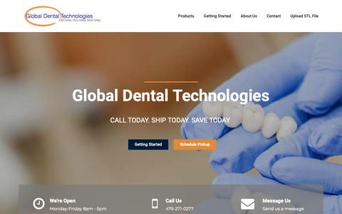 Screenshot of Home Page gdtlab.com - Global Dental Technologies | Global Dental Technologies - captured Sept. 28, 2018