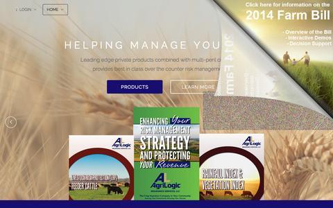 Screenshot of Home Page agrilogic.com - AgriLogic Insurance Services - captured Oct. 4, 2014
