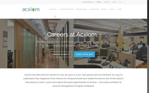 Screenshot of Jobs Page acxiom.com - Careers - Acxiom - captured Oct. 27, 2015
