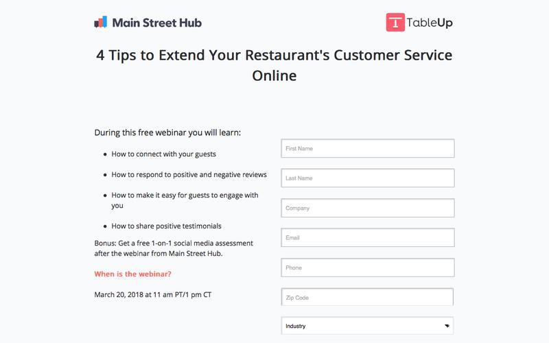 Free Webinar: Main Street Hub & TableUp