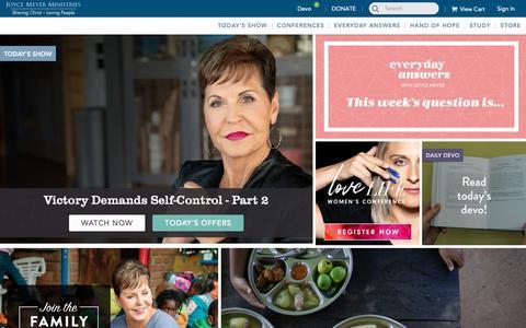 Screenshot of Home Page joycemeyer.org - Joyce Meyer Ministries, Enjoying Everyday Life, Hand of Hope - captured Feb. 24, 2019