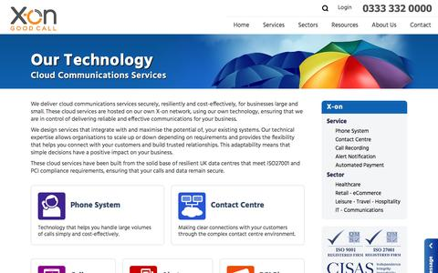Screenshot of Services Page x-on.co.uk - X-on Cloud Communications Services - captured July 20, 2016