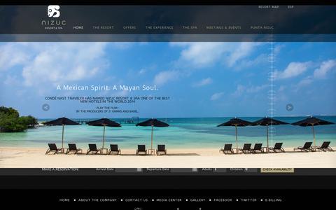 Screenshot of Home Page nizuc.com - Cancun Resort & Spa | NIZUC - captured Sept. 24, 2014