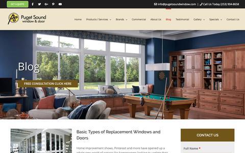 Screenshot of Blog pugetsoundwindow.com - Our Blog | Puget Sound Window & Door | Puyallup, WA - captured Sept. 29, 2018