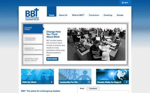 Screenshot of Home Page b-b-t.org - www.B-B-T.org:  BBT is Biblical Business Training - captured Sept. 29, 2014