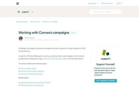 Screenshot of Support Page zendesk.com - Working with Connect campaigns – Zendesk Support - captured Feb. 27, 2017