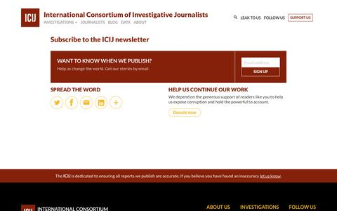 Screenshot of Signup Page icij.org - Subscribe to the ICIJ newsletter - ICIJ - captured Sept. 24, 2018