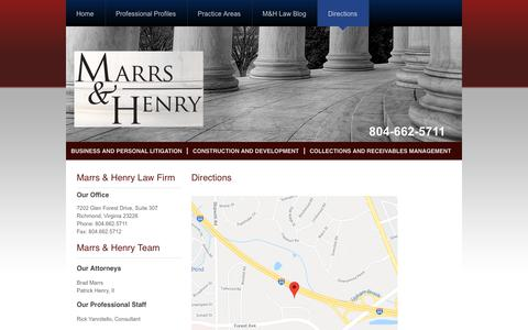 Screenshot of Contact Page Maps & Directions Page marrs-henry.com - Directions – Marrs & Henry Law Firm - captured July 11, 2018