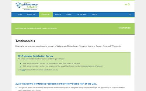 Screenshot of Testimonials Page wiphilanthropy.org - Testimonials | Wisconsin Philanthropy Network - captured Oct. 25, 2018