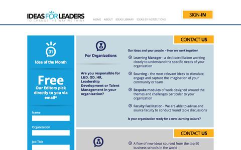 Screenshot of Contact Page Pricing Page ideasforleaders.com - Contact | Ideas for Leaders - captured Oct. 23, 2014