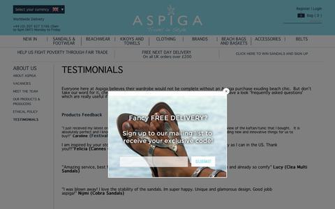 Screenshot of Testimonials Page aspiga.com - Testimonials   Aspiga - captured May 30, 2017
