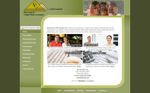 Screenshot of Home Page philconditcpa.com - Fargo, ND CPA / Phil Condit, P.C. - captured Oct. 1, 2014