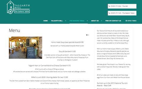Screenshot of Menu Page talgarthmill.com - Menu | Cafe | Bakers Table - captured Oct. 27, 2014