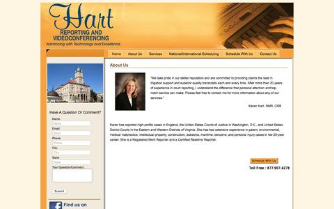 Screenshot of About Page hartreporting.com - About Us | Hart Court Reporting - captured Jan. 26, 2016