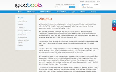 Screenshot of About Page igloobooks.com - About Us - captured Sept. 25, 2014