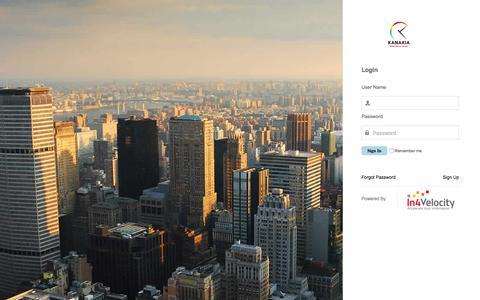 Screenshot of Login Page kanakia.com - Real Estate Enterprise Information Portal - captured Nov. 27, 2016