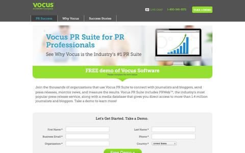 Screenshot of Landing Page vocus.com - Vocus PR Suite - captured Oct. 27, 2014