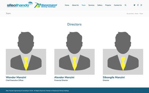 Screenshot of Team Page masemanzimining.co.za - Team – Masemanzi Mining Holdings - captured Nov. 15, 2018