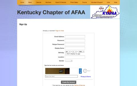 Screenshot of Signup Page kyafaa.org - Signup - captured Oct. 8, 2014