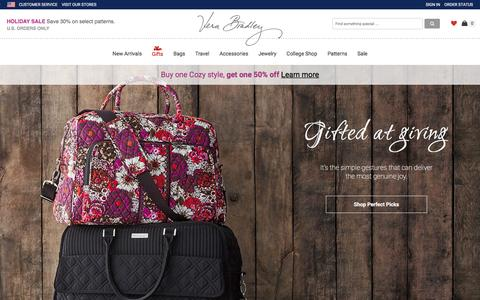 Screenshot of Home Page verabradley.com - Bags, Handbags, Purses, Backpacks | Vera Bradley - captured Dec. 2, 2015