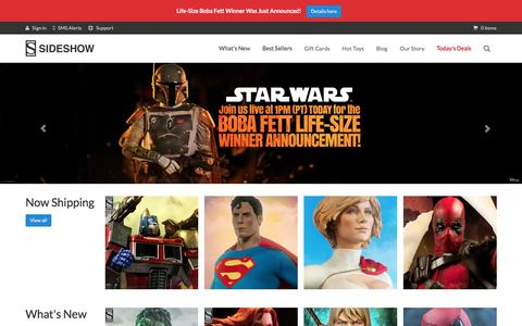 Screenshot of Home Page sideshowtoy.com - Pop Culture Collectible Figures   Sideshow Collectibles - captured Jan. 13, 2016