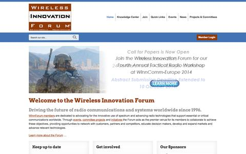 Screenshot of Home Page wirelessinnovation.org - Wireless Innovation Forum - working toward SDR, CR and DSA innovation - captured Oct. 7, 2014