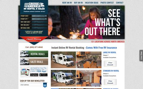 Screenshot of Home Page cruiseamerica.com - America's RV Rental Experts - Guaranteed Bookings - 24/7 Customer Service - captured May 22, 2018