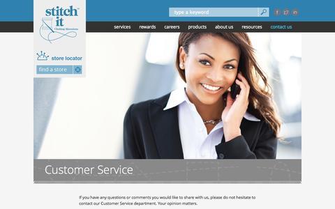 Screenshot of Support Page stitchit.co - Customer Service | Stitch It - captured Oct. 10, 2014