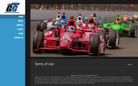 Screenshot of Terms Page ggmmarketing.com - Latest News - G&G Motorsports Marketing LLC - captured Oct. 1, 2014