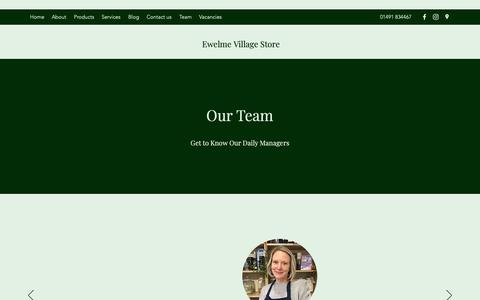 Screenshot of Team Page ewelmevillagestore.co.uk - Team | Ewelme Village Store - captured Dec. 16, 2018