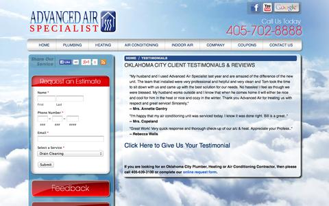 Screenshot of Testimonials Page advancedairok.com - Testimonials for Oklahoma City Plumber, Air Conditioning & Heating Repairs Specialist - captured Oct. 4, 2014