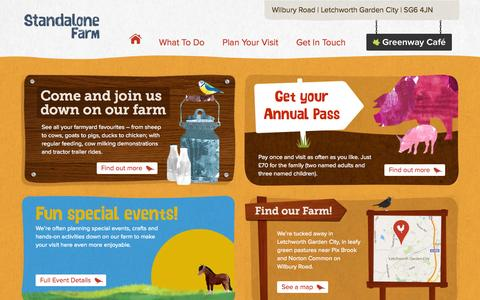 Screenshot of Home Page standalonefarm.com - Welcome to Standalone Farm - A great family day out in Hertfordshire - captured Sept. 19, 2015