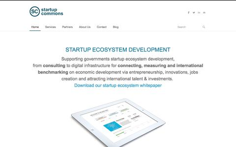 Screenshot of Home Page startupcommons.org - Startup Commons Global - Home - captured Jan. 16, 2016