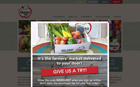 Screenshot of Home Page theproducebox.com - The Produce Box - captured Oct. 7, 2015