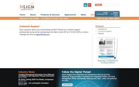 Screenshot of Support Page nlign.com - Customer Support | NLign Analytics - captured Oct. 6, 2014