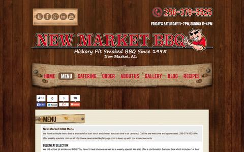 Screenshot of Menu Page newmarketbbq.com - Menu | New Market BBQ Best Old School Pit Smoked BBQ found in the New Market and Huntsville AL area. - captured Sept. 26, 2014