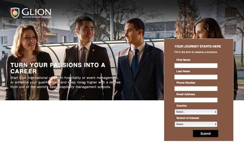 Screenshot of Landing Page glion.edu - Glion, international hospitality management school - captured Sept. 27, 2016