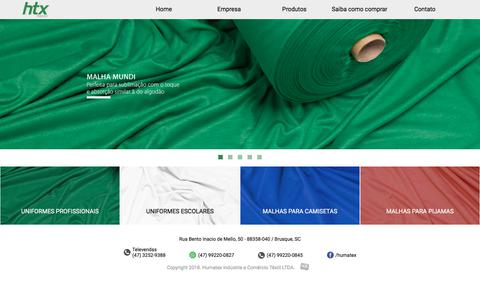 Screenshot of Home Page humatex.com.br - Humatex Têxtil - Malhas para camisetas, uniformes, pijamas - captured Sept. 26, 2018