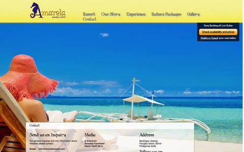 Screenshot of Contact Page amarelaresort.com - Contact - Amarela Beach ResortAmarela Beach Resort - captured Oct. 4, 2014