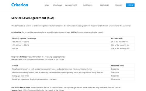 Service Level Agreement | Criterion