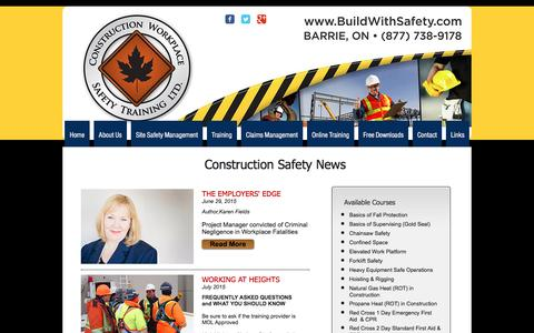 Screenshot of Press Page buildwithsafety.com - Construction Workplace Safety | Construction News | Barrie, ON - captured Nov. 11, 2016