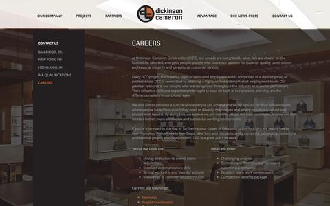 Screenshot of Jobs Page dickinsoncameron.com - DCC Careers in high end retail restaurant construction  | Dickinson Cameron - captured Feb. 9, 2016