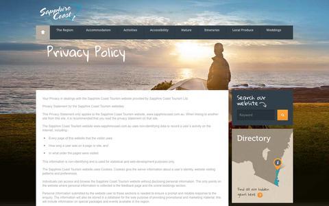 Screenshot of Privacy Page sapphirecoast.com.au - Privacy Policy - Sapphire Coast - captured Aug. 10, 2018