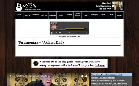 Screenshot of Testimonials Page zagerguitar.com - Testimonials - Updated Daily | Zager Guitars - captured Sept. 20, 2018